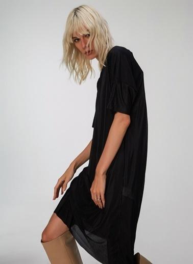 People By Fabrika Kendinden Piliseli Elbise Siyah